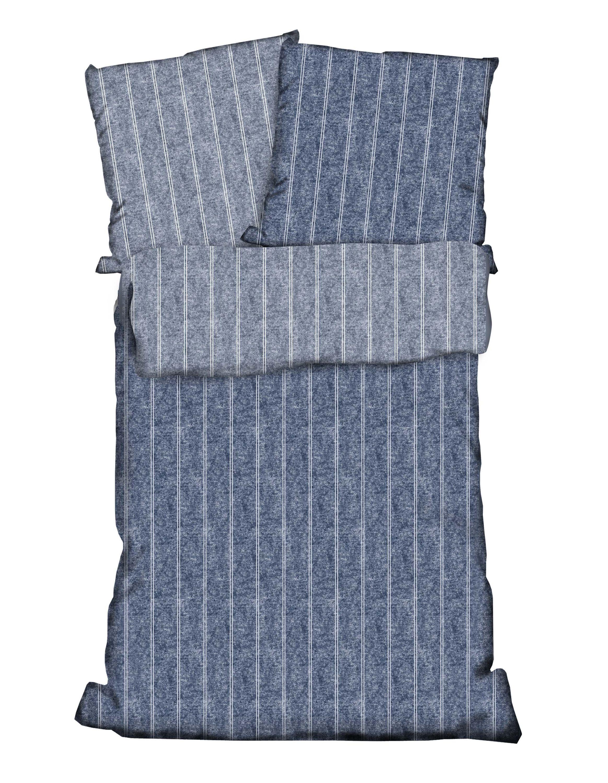 2 tlg wende bettw sche 135 x 200 cm denim wei baumwolle. Black Bedroom Furniture Sets. Home Design Ideas