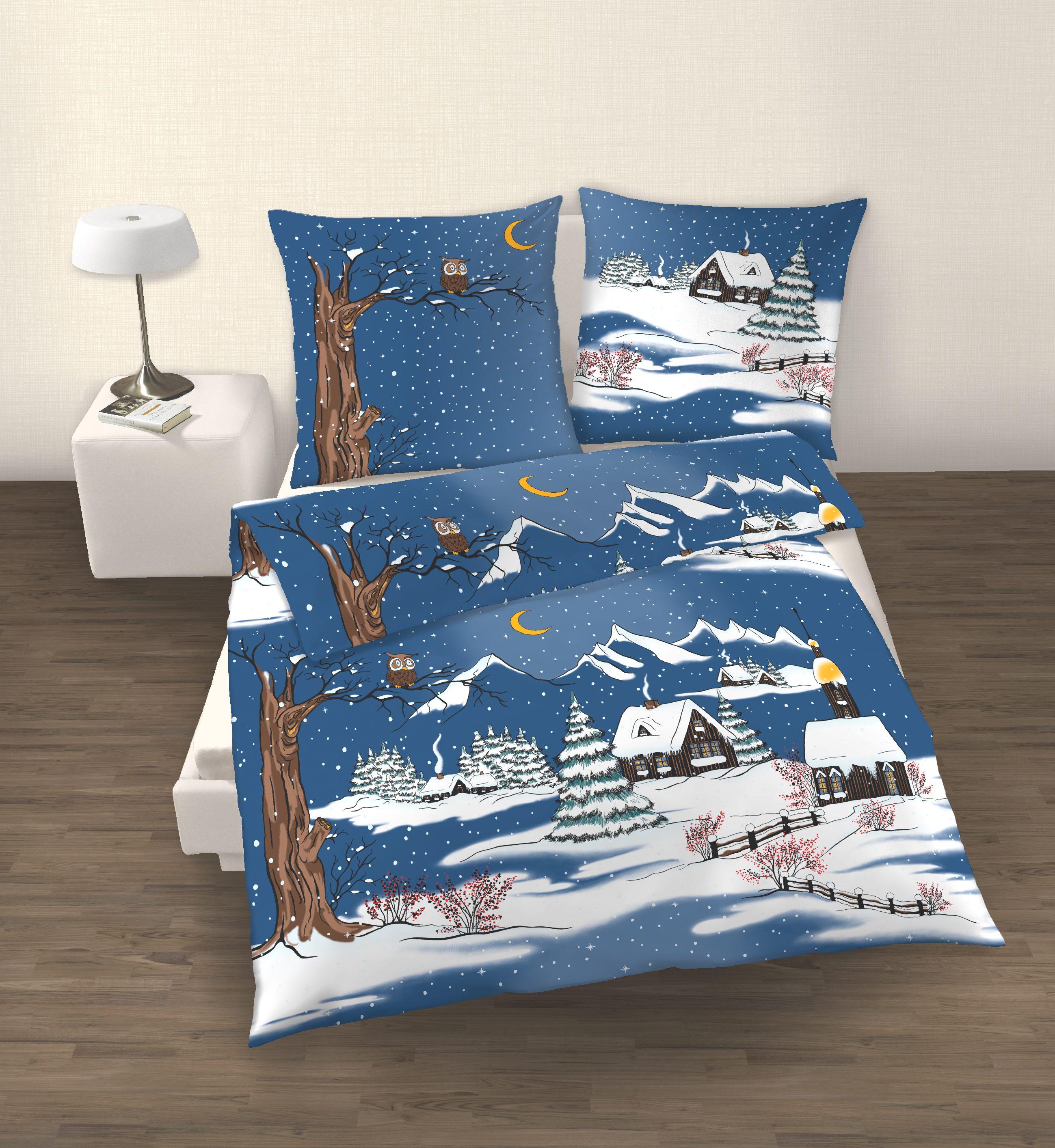 2tlg bettw sche 135x200cm 40x80cm weihnachten blau. Black Bedroom Furniture Sets. Home Design Ideas