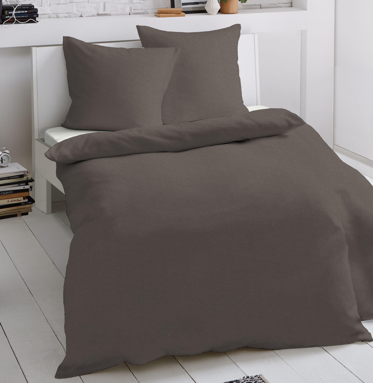 2 tlg jersey bettw sche 135 x 200 cm braun mako baumwolle garnitur bettw sche baumwolle 135x200 cm. Black Bedroom Furniture Sets. Home Design Ideas