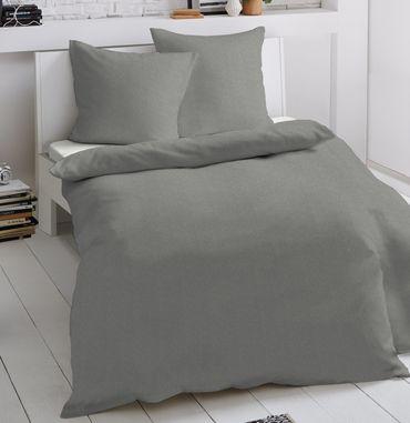 2 tlg Jersey Bettwäsche 155 x 220 cm grau Mako Baumwolle Garnitur – Bild 1