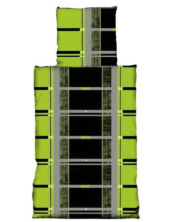 2 tlg Bettwäsche 155 x 220 cm Karo anthrazit grün Übergröße Garnitur – Bild 1