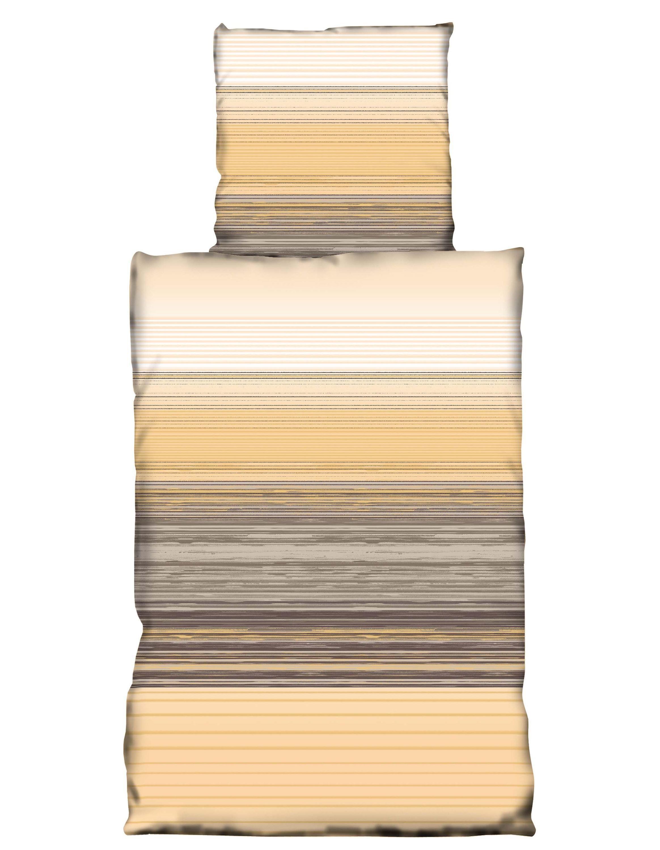 4 tlg bettw sche 135x200cm gestreift beige braun microfaser garnituren bettw sche 4 teilig. Black Bedroom Furniture Sets. Home Design Ideas