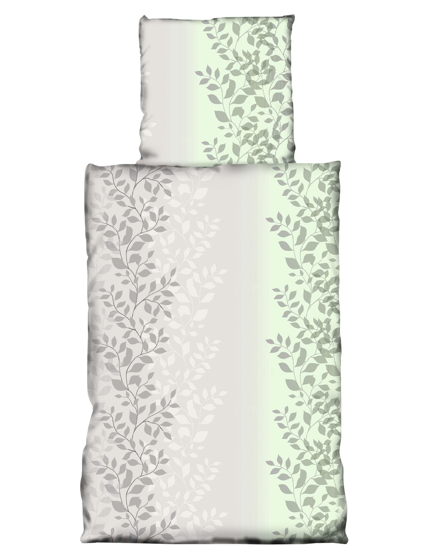 4 Tlg Bettwäsche 135 X 200cm Grün Grau Blätter Microfaser Garnituren