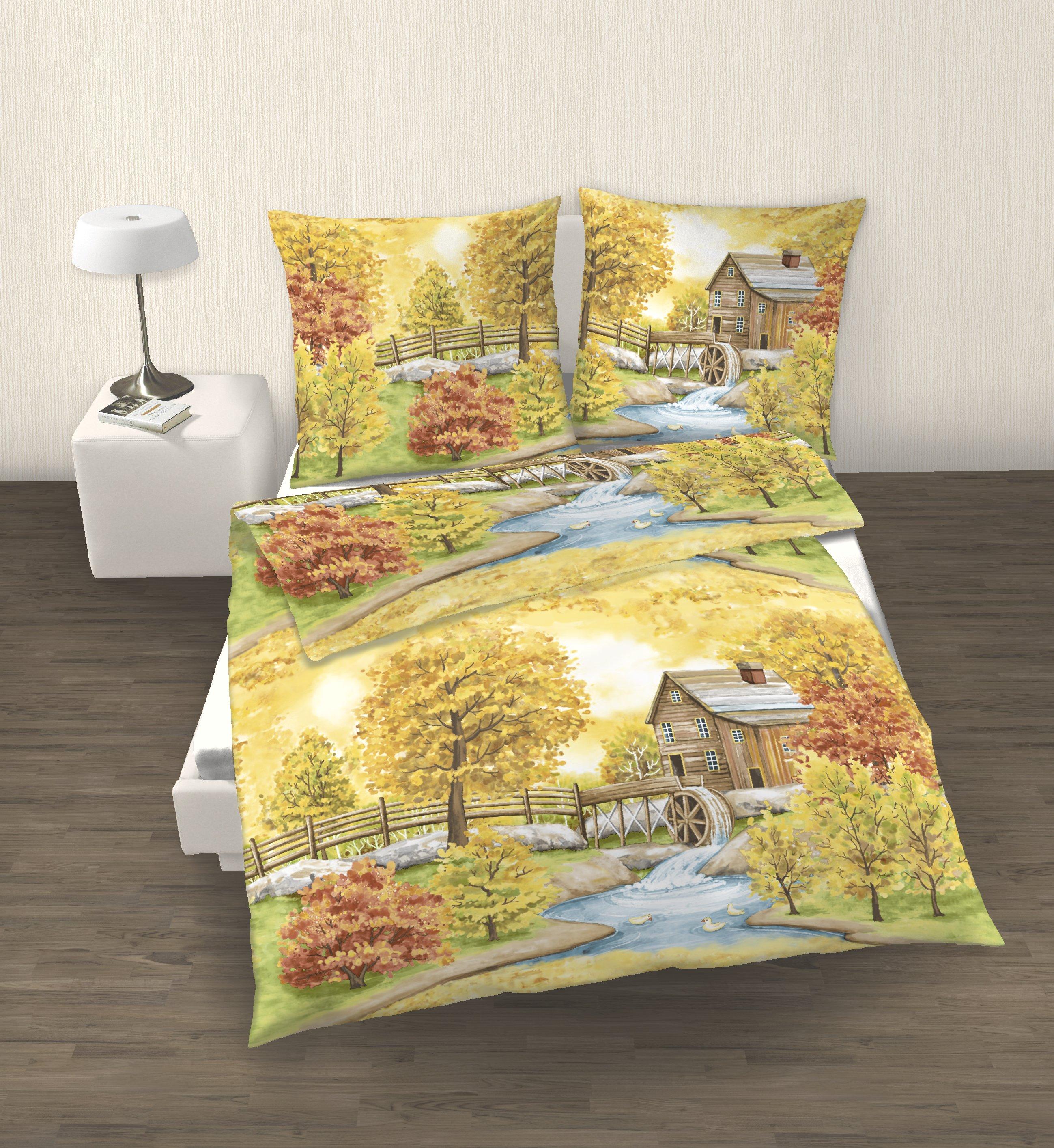 2 tlg bettw sche 155 x 220 cm herbstlandschaft biber. Black Bedroom Furniture Sets. Home Design Ideas