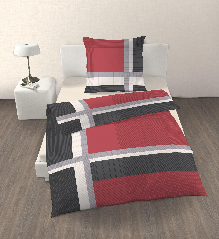 2 tlg bettw sche 135 x 200 cm anthrazit rot renforce. Black Bedroom Furniture Sets. Home Design Ideas