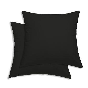 2er Pack Kissenbezug Kissenhülle 45 x 45 cm schwarz Uni Baumwolle – Bild 1