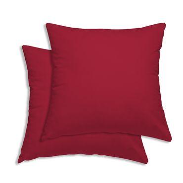 2er Pack Kissenbezug Kissenhülle 45 x 45 cm rot Uni Baumwolle – Bild 1