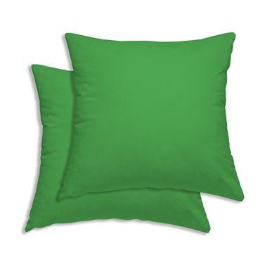 2er Pack Kissenbezug Kissenhülle 40 x 40 cm grün Uni Baumwolle – Bild 1