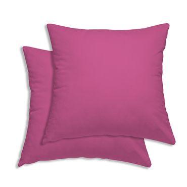 2er Pack Kissen Kopfkissen Bezug Hülle 80x80cm pink Uni Baumwolle – Bild 1