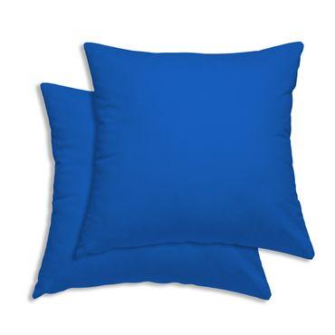 2er Pack Kissenbezug Kissenhülle 50 x 50 cm blau Uni Baumwolle – Bild 1