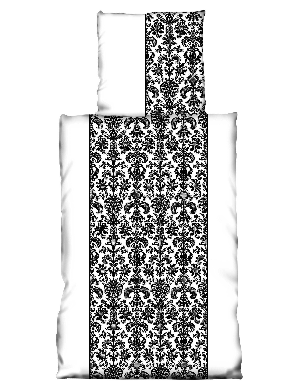 2 Tlg Bettwäsche 155x220 Cm Schwarz Weiß Ornamente übergröße