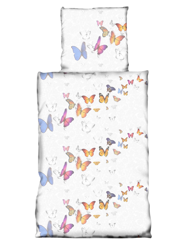 2 Tlg Bettwäsche 135 X 200 Cm Schmetterlinge Weiß Silber Microfaser