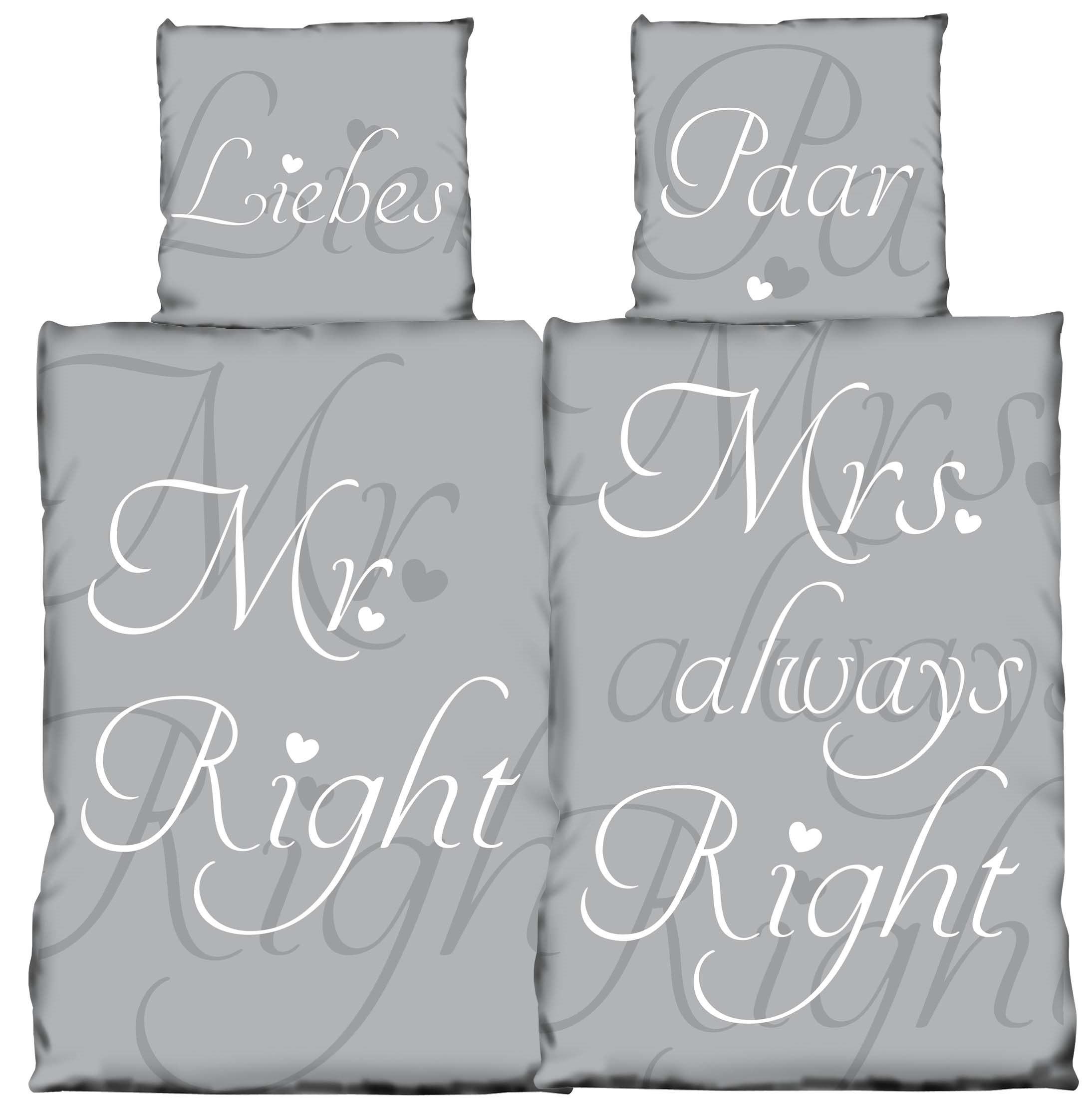 4 Tlg Bettwäsche 135 X 200 Cm Mr Right Mrs Always Right Grau