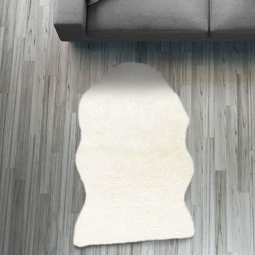 Fell Läufer Teppich weiß 55x80 cm Sofa Stuhl Matte Hasenfell Kunstfell – Bild 1