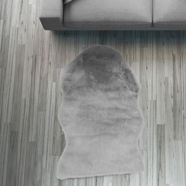 Fell Läufer Teppich grau 55x80 cm Sofa Stuhl Matte Hasenfell Kunstfell – Bild 1