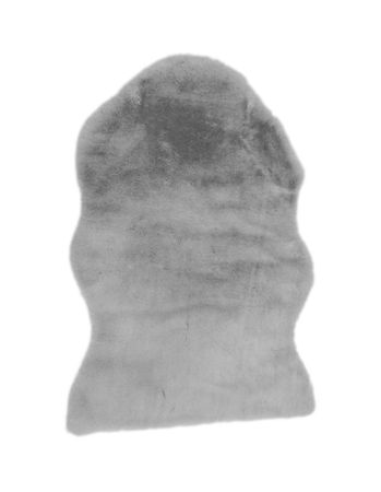Fell Läufer Teppich grau 55x80 cm Sofa Stuhl Matte Hasenfell Kunstfell – Bild 2