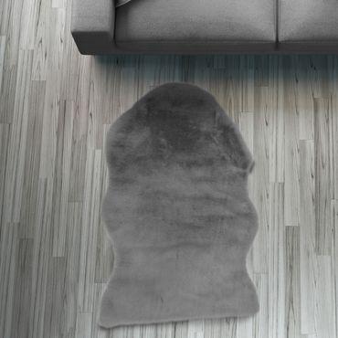 Fell Läufer Teppich anthrazit 55x80 cm Sofa Stuhl Matte Tier Hasenfell – Bild 1