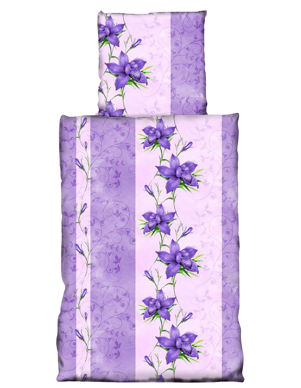 2 tlg bettw sche 135x200 cm blumen flieder violett microfaser garnitur bettw sche microfaser. Black Bedroom Furniture Sets. Home Design Ideas