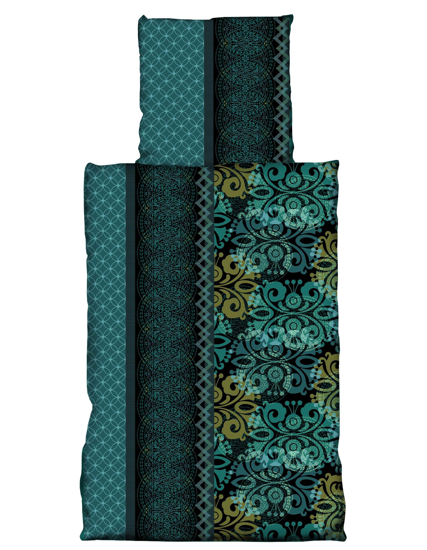 2 Tlg Bettwäsche 155 X 220 Cm Ornamente Petrol Grün übergröße