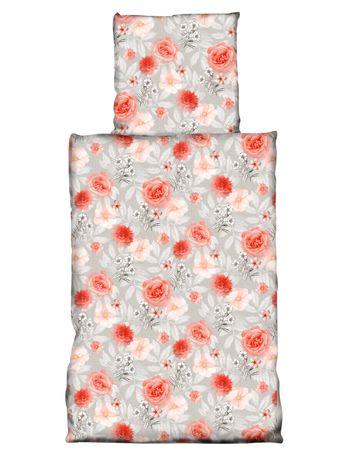 2 tlg Bettwäsche 155 x 220 cm Blumen Rose rot grau Übergröße Garnitur – Bild 1