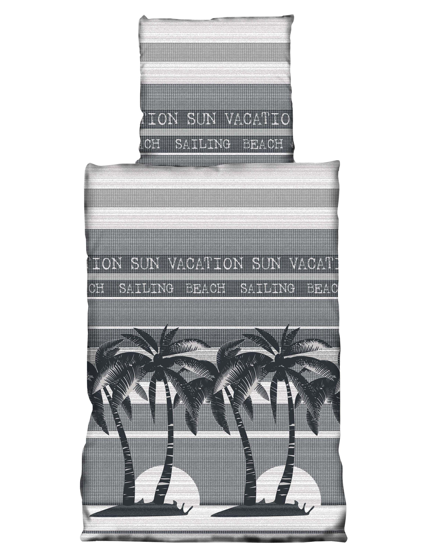 4 Tlg Bettwäsche 155 X 220 Cm Beach Palmen Schwarz Grau Set