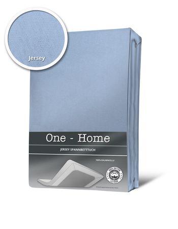 Spannbettlaken Spannbetttuch hellblau 90x200 cm - 100x200 cm Jersey Baumwolle – Bild 1