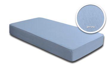 Spannbettlaken Spannbetttuch hellblau 140x200 cm - 160x200 cm Jersey Baumwolle – Bild 2