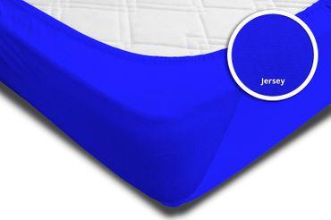 Spannbettlaken 180x200 cm - 200x200 cm royal blau königsblau Jersey Baumwolle – Bild 4