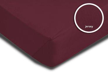 Spannbettlaken Spannbetttuch bordeaux 180x200 cm - 200x200 cm Jersey Baumwolle – Bild 3