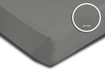 Topper Spannbettlaken Bettlaken grau 140x200 cm - 160x200 cm Jersey Baumwolle – Bild 3