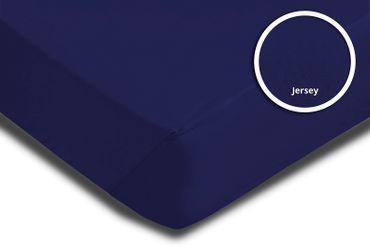 2er Pack Spannbettlaken Bettlaken navy marine blau 90x200 cm - 100x200 cm Jersey – Bild 3
