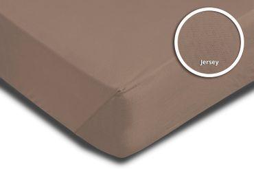 2er Pack Spannbettlaken Bettlaken taupe braun 90 x 200 cm - 100 x 200 cm Jersey – Bild 3