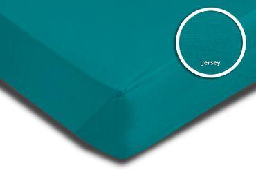 2er Set Spannbettlaken Bettlaken petrol 140x200 cm - 160x200 cm Jersey Baumwolle – Bild 3