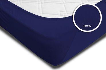 2er Set Spannbettlaken Bettlaken navy marine blau 140x200 cm - 160x200 cm Jersey – Bild 4