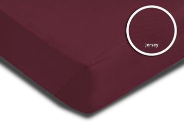 2er Set Spannbettlaken Bettlaken bordeaux weinrot 140x200 cm - 160x200 cm Jersey – Bild 3