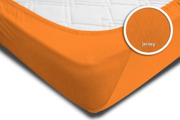 2 Spannbettlaken Bettlaken terra orange 180 x 200 cm - 200 x 200 cm Jersey Set – Bild 4
