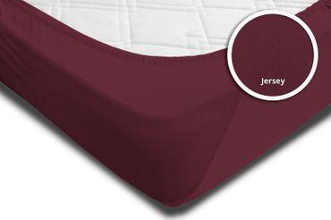2 Spannbettlaken Bettlaken 180x200 cm - 200x200 cm bordeaux wein rot Jersey Set – Bild 4