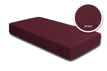 2 Spannbettlaken Bettlaken 180x200 cm - 200x200 cm bordeaux wein rot Jersey Set – Bild 2