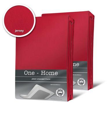 2 Spannbettlaken Bettlaken rot kirsch 180 x 200 cm - 200 x 200 cm Jersey Set – Bild 1