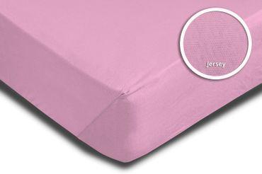 2 Spannbettlaken Bettlaken 180x200 cm - 200x200 cm rosa rose fuchsia Jersey Set – Bild 3