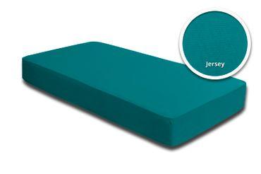 2 Topper Spannbettlaken petrol 180x200 cm - 200x200 cm Jersey Baumwolle Set – Bild 2