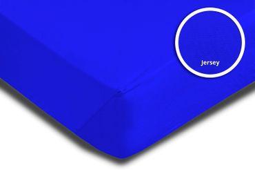 2 Topper Spannbettlaken royal blau 180x200 cm - 200x200 cm Jersey Baumwolle Set – Bild 3