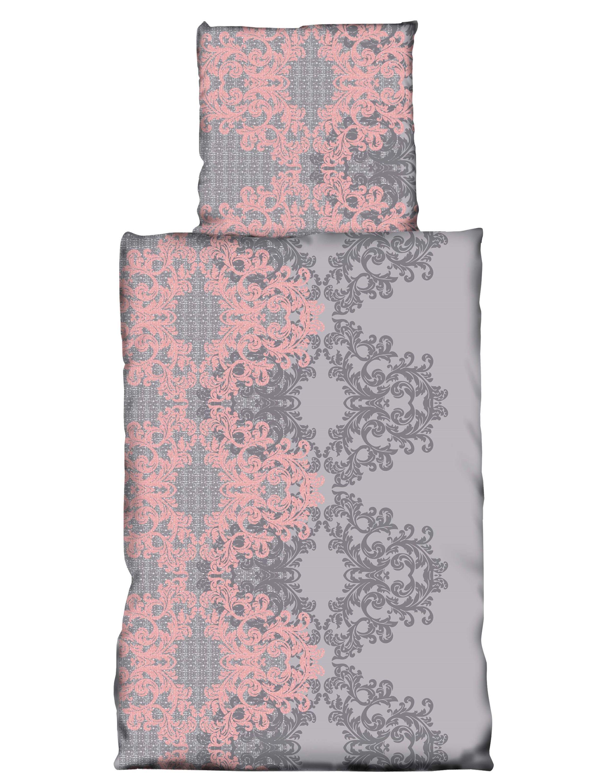 2 teilig bettw sche 135 x 200 cm barock ornamente grau rosa microfaser bettw sche microfaser. Black Bedroom Furniture Sets. Home Design Ideas