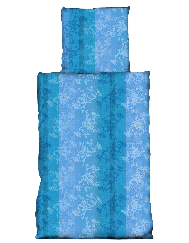 4 Teilig Bettwäsche 155x220 Cm Blumen Türkis Dunkel Blau Microfaser