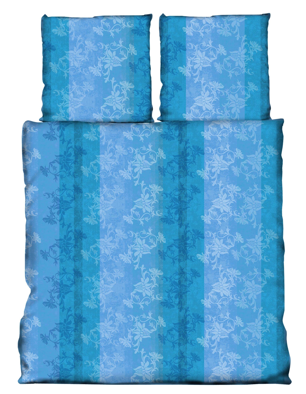 3 Teilig Bettwäsche 200x200 Cm Blumen Türkis Dunkel Blau Microfaser