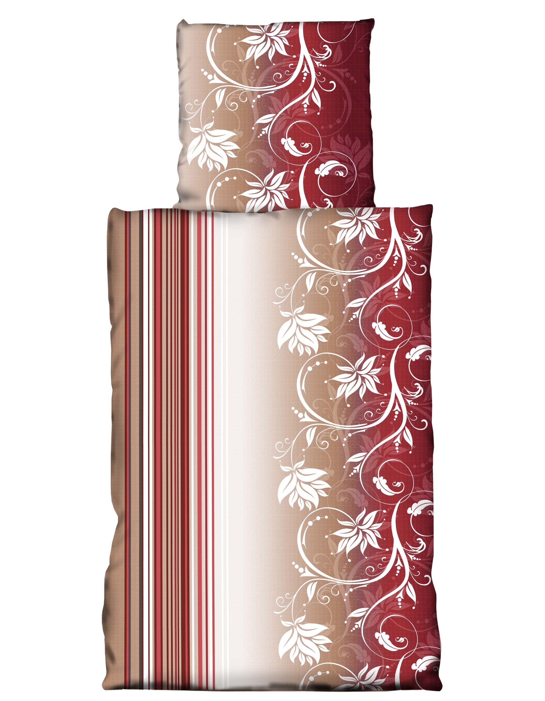 2 Teilig Bettwäsche 135 X 200 Cm Blumen Geblümt Bordeaux Rot Weiß