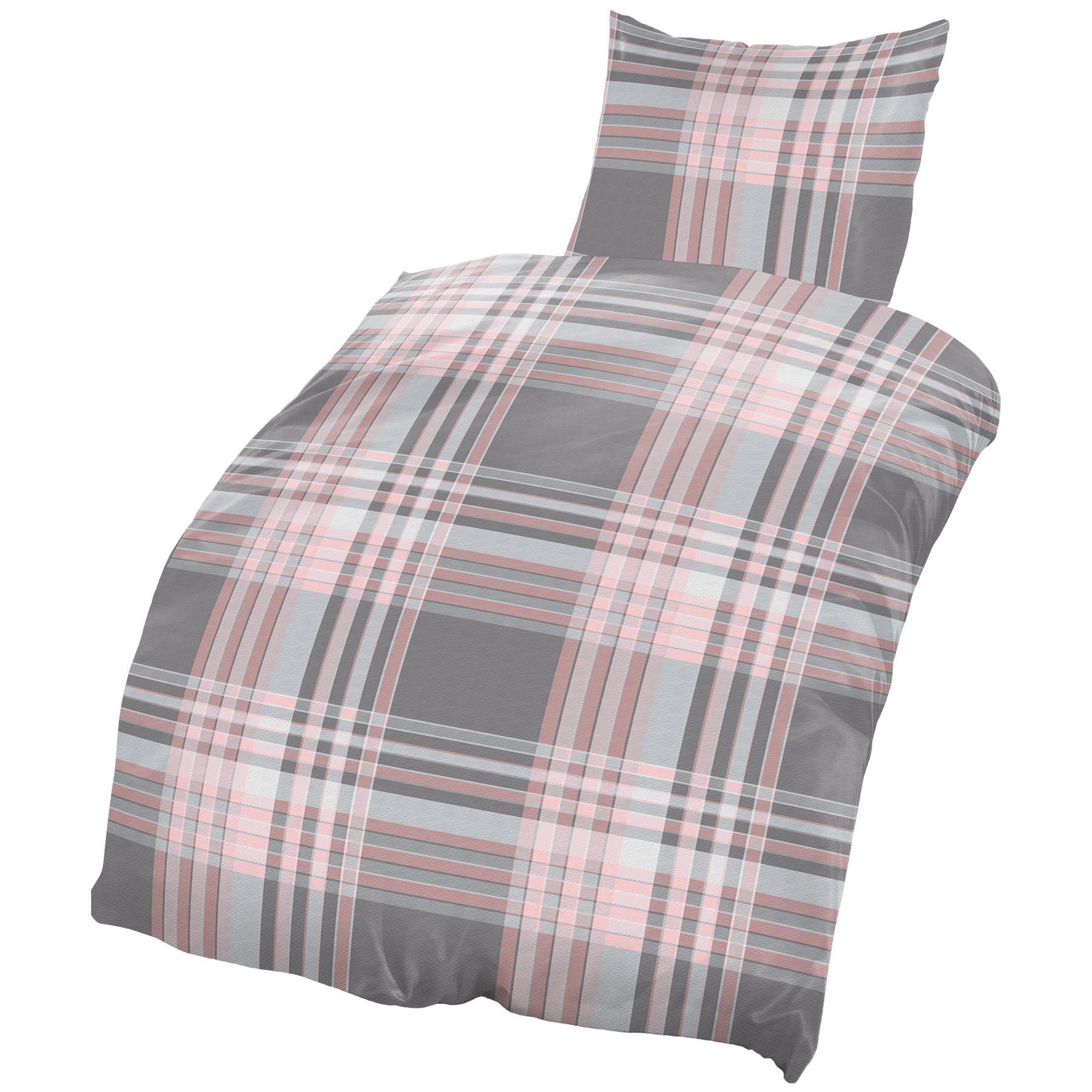 4 teilig bettw sche 135x200 cm grau silber altrosa karo streifen baumwolle set ebay. Black Bedroom Furniture Sets. Home Design Ideas