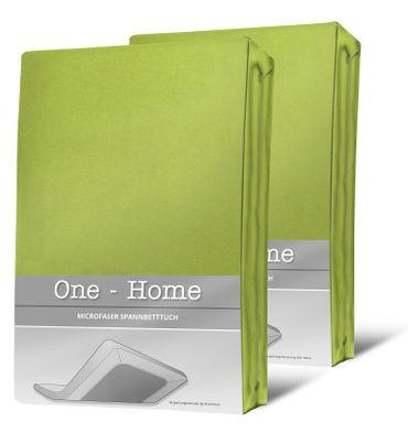 2 Spannbettlaken grün 90x200 cm - 100x200 cm Microfaser Spannbetttuch Set – Bild 1