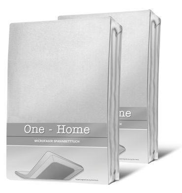 2 Spannbettlaken weiß 180x200 cm - 200x200 cm Microfaser Spannbetttuch Set – Bild 1