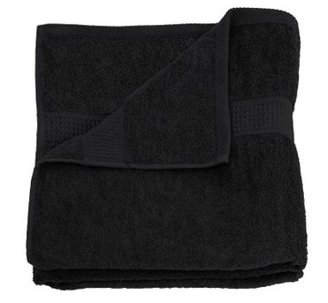 Badetuch schwarz 100x150 cm Baumwolle schnelltrocknend Frottee Frottiertuch groß – Bild 1